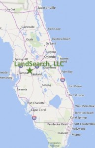 Map of Florida showing LandSearch's location in central Florida.